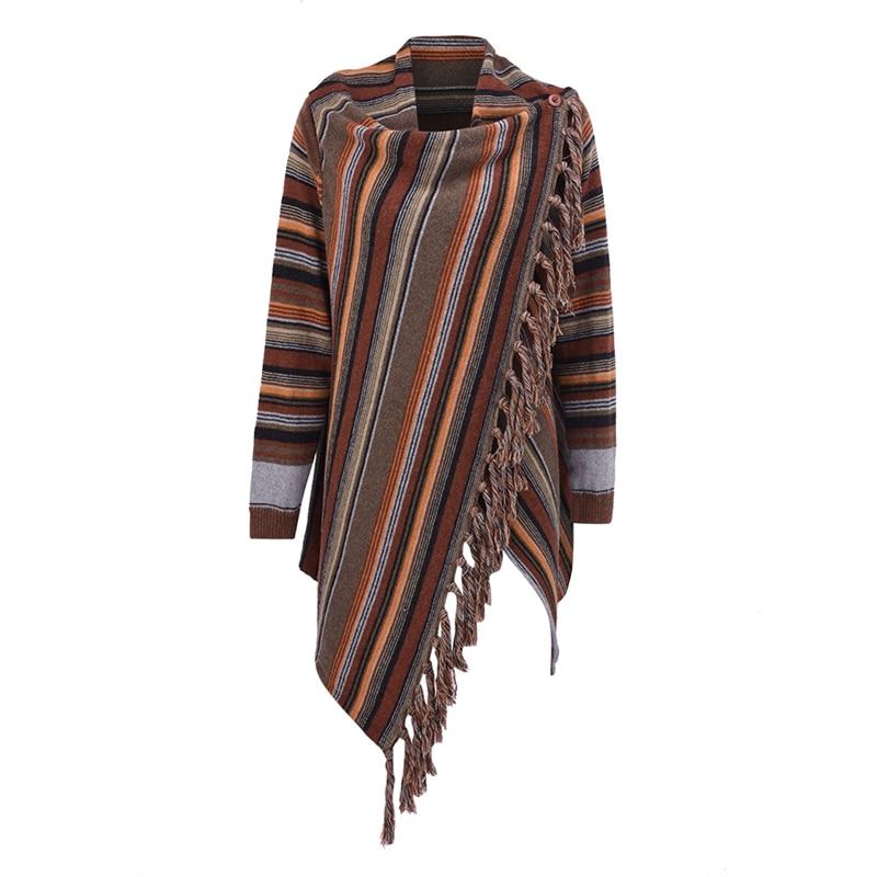 Primavera y otoño-moda suéter Cardigan mujer Ponchoes capas suéter Casual de manga cabo borla suéteres jerseys tops