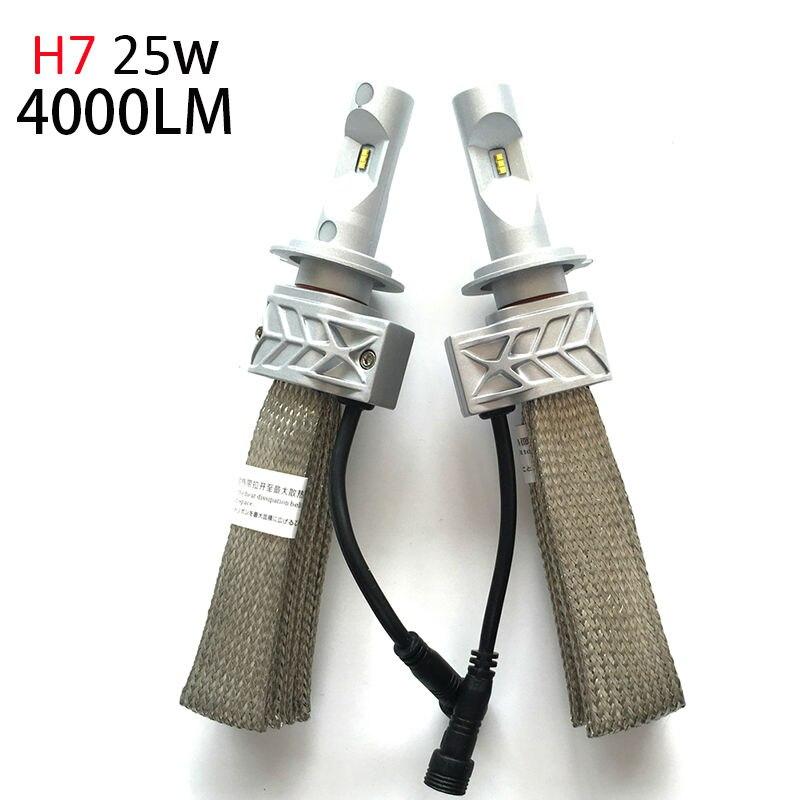 H7 LED Headlight Bulbs 50w 8000Lm Fanless  High Beam Low Beam for Audi Mercedes-Benz BMW Volkswagen VW Peugeot Citroen Renault
