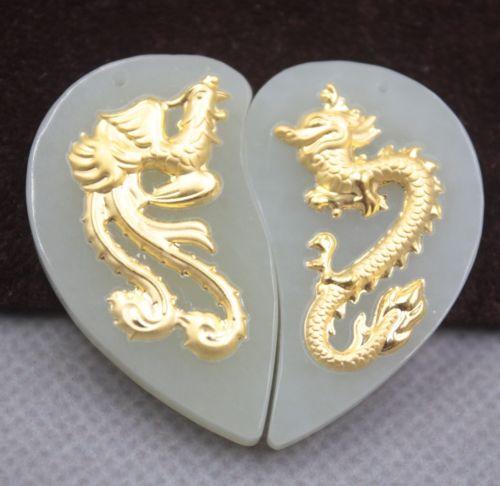 Jade Hetian naturel certifié (néphrite) 999 pendentif Dragon Phoenix en or jaune
