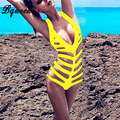 Bqueen 2017 New Summer Women Zipper Solid Deep V Hollow Out Sexy One Piece Swimsuits Bodysuits Bathing Suit