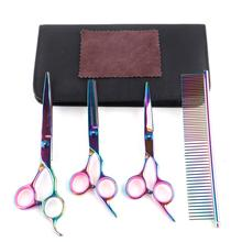 PET Professional DOG Grooming Coated Titanium scissors suit Cutting Curved Thinning Shears