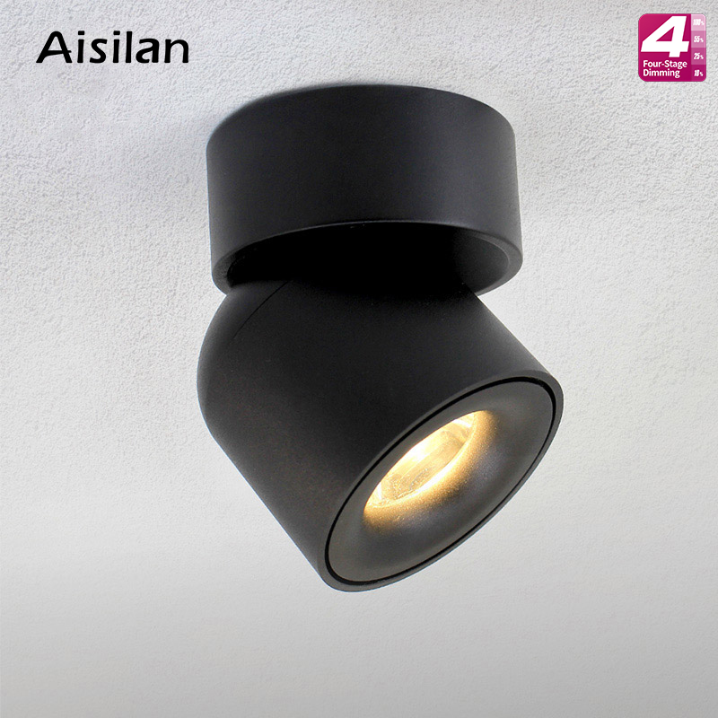 Aisilan Led Surface Mounted Ceiling Dimmable Downlight Adjustable 90 degrees Spot light for indoor Foyer,Living Room AC 90-260VAisilan Led Surface Mounted Ceiling Dimmable Downlight Adjustable 90 degrees Spot light for indoor Foyer,Living Room AC 90-260V