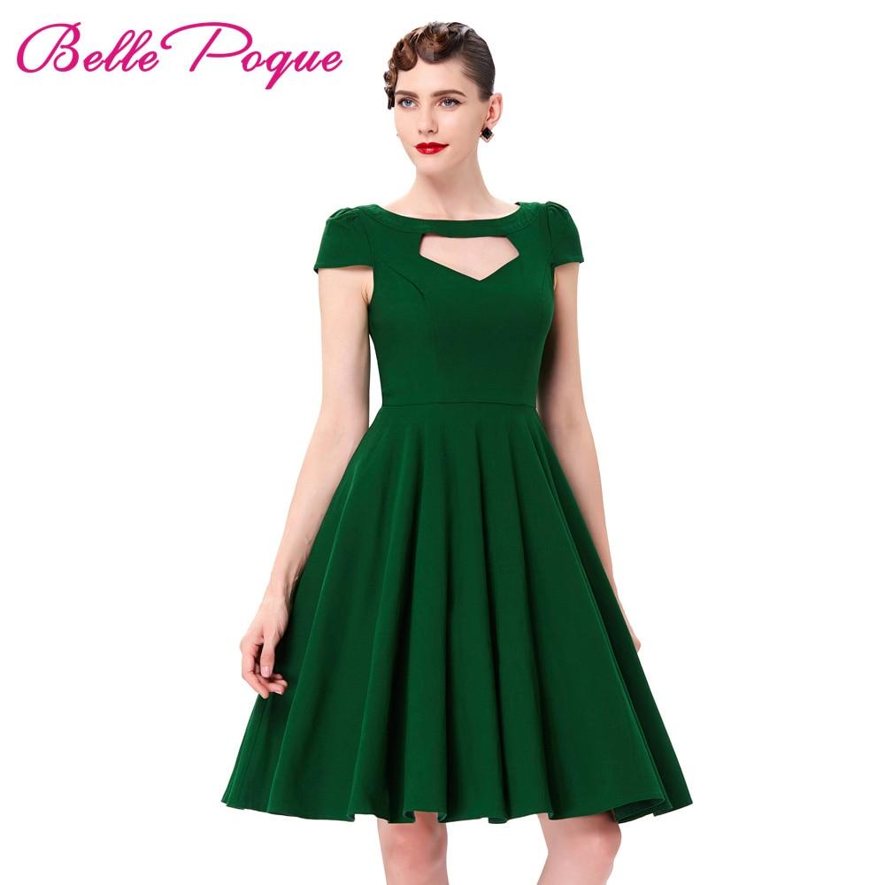 À Manches courtes Pin Up Swing Big 50 s Robe D'été Vintage vert Rouge Noir Creusé Avant Genou Longueur Rétro Casual Rockabilly robe