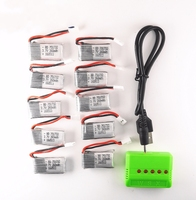 10pcs 3.7V 260mAh Lipo Battery with 5in1 X5 green Charger for Eachine H8 JRC H8 Mini RC Quadcopter drone parts