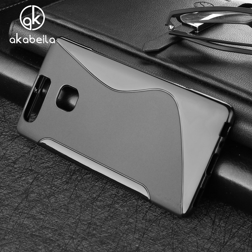 AKABEILA Soft S Line TPU Mobile Phone Cases For huawei P9 5.2 inch Shell cell Phone Bag Case Cover Anti Skid