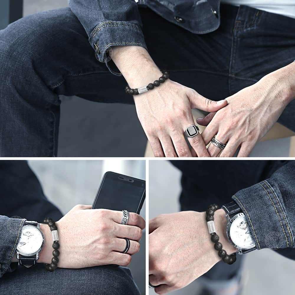 Naturalny czarny bransoletka z kamieniami lawowymi dla mężczyzna kobiet koraliki Stretch ze stali nierdzewnej klejnot łańcucha kryształ Chakra energia prezent TBB00101