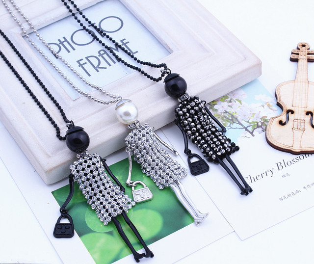 10pcs Fashion necklace for women 2016! Cute Dress Doll Necklace Crystal Meshes wholesal gifts Jewelry Accessories