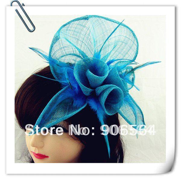 Бирюзовый синий головной убор Sinamay шляпа с пером хороший свадебный головной убор красные свадебные шапки очень хороший 20 цветов можно выбрать MSF094