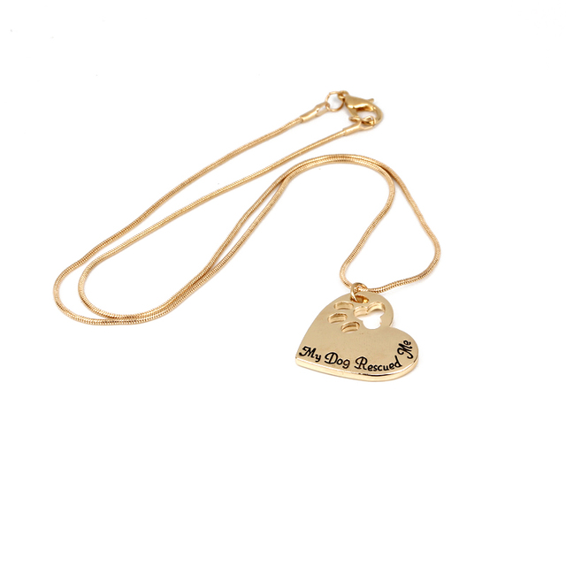 Pet Memorial  Jewelry My Dog Rescued Me Engraved Pet Paw Prints 3