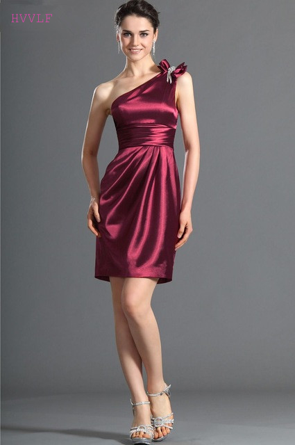 Purple 2019 Cheap   Bridesmaid     Dresses   Under 50 Sheath One-shoulder Short Mini Backless Wedding Party   Dresses