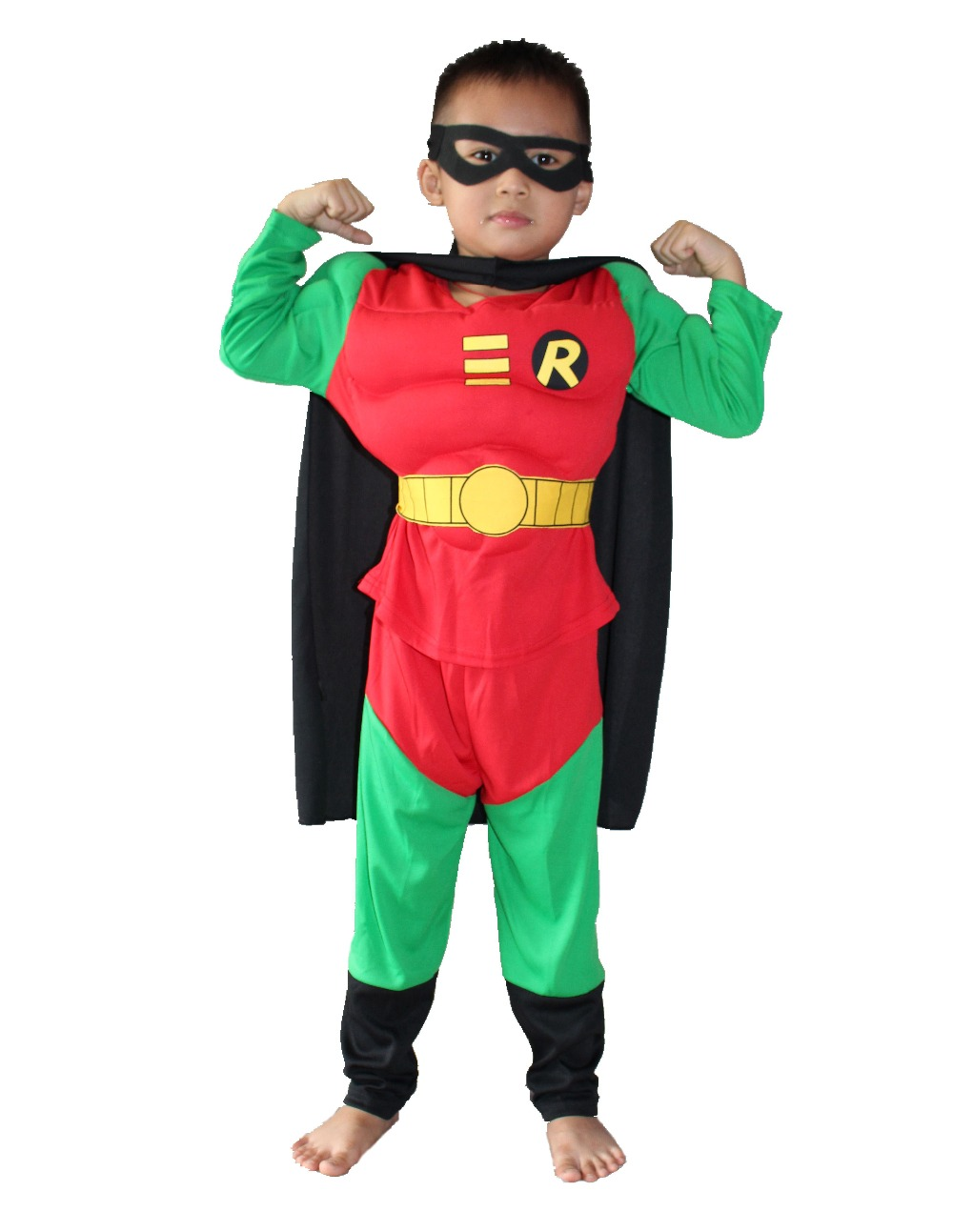 Halloween Party costumes Children's muscle model clothing,kid muscle Robin Role-playing clothing,Long-sleeved T-shirt 16806#