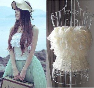 White Lace Tanktop Vest Blouse Pure Princess Fairy Style Chiffon Skirt Fashion Ladies' Woman Tanktops T-Shirt Tank Top Camis