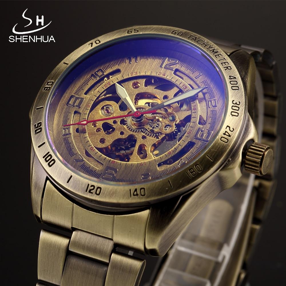 SHENHUA Vintage Bronze Metal Mechanical Watch Men Skeleton Automatic Transparent Wrist Watches Luminous Hands Male Wristwatch цена 2017