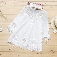 MUMUZI 2018 New Summer Mori Girl Cotton Blouse Pure Cotton Good Quality Women Clothing Embroidery Flower
