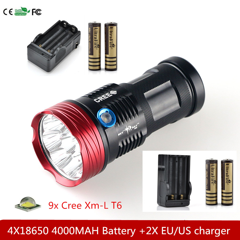 15000 Lumens 9x Cree Xm-l T6 LED Flashlight Torch Tactical Hunting 18650 Torch & 4x18650 4000MAH Battery +2x EU Charger led tactical flashlight 501b cree xm l2 t6 torch hunting rifle light led night light lighting 18650 battery charger box