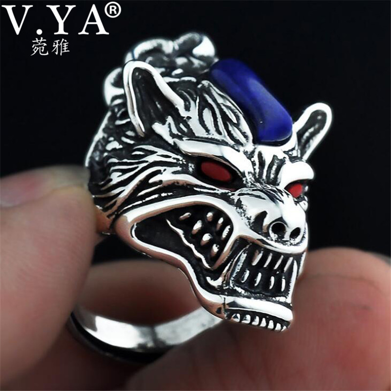 V YA Vintage Thai Silver Wolf Rings for Men Male 100 925 Sterling Silver Natural Stone