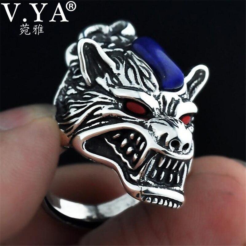 V. YA Vintage Thai argent loup anneaux pour hommes hommes 100% 925 argent Sterling pierre naturelle bijoux anniversaire fête des pères cadeau