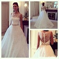 Classic Lace Princess Wedding Dress 2015 A Line Sleeveless Scalloped Neckline Brides Dresses Abiti da Sposa