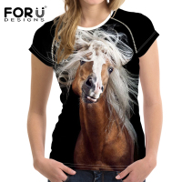 FORUDESIGNS 3D Funny Horse Printed Women T Shirt Harajuku Cool Female Party Shirt Short Sleeved Ladies
