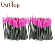 New 100pcs/lot make up brush Pink synthetic fiber One-Off Disposable Eyelash Brush Mascara Applicator Wand Brush best deal