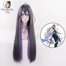 High Quality 80cm Division Rap Battle Hypnosis MIC Jakurai Jinguji Wigs Grey Purple ombre Synthetic Hair Cosplay Wig + Cap
