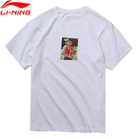 Li Ning PFW Men Li's Photo Tee Printing T Shirt 100% Cotton Loose Fit Breathable LiNing Sports Tee Tops AHSN861 MTS2880