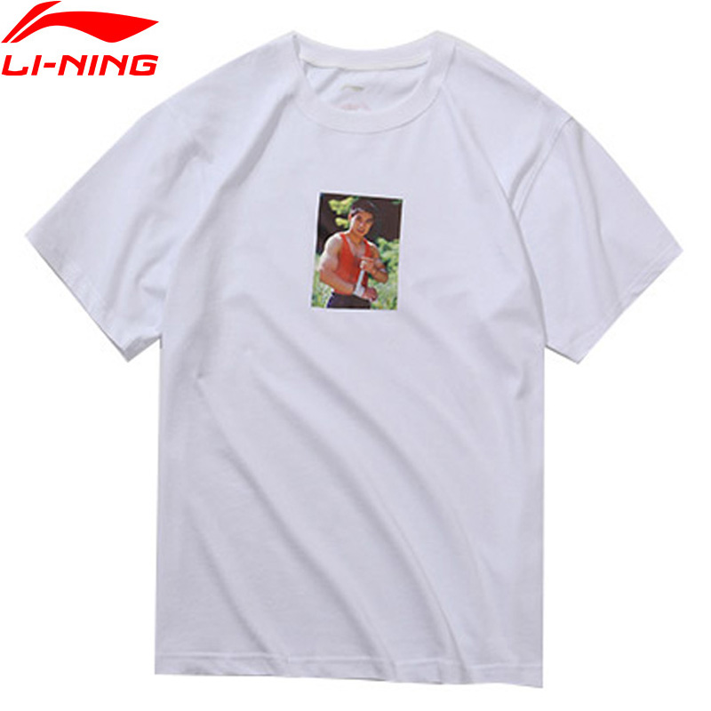 Li-ning PFW hommes T-Shirt Photo impression T-Shirt 100% coton lâche doublure respirante sport Tee hauts AHSN861 MTS2880