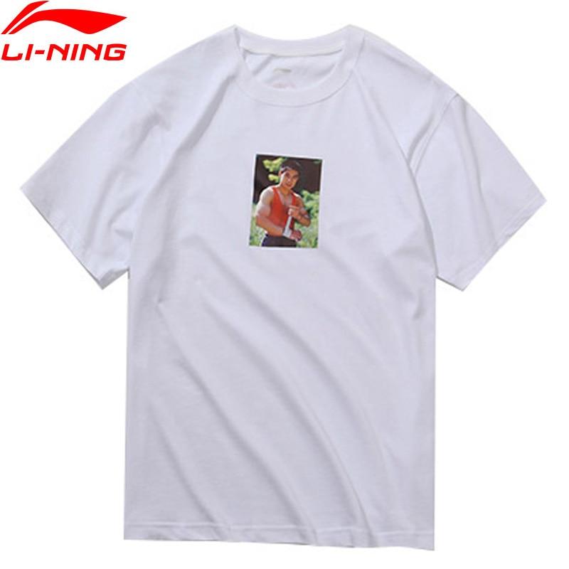 Li-Ning PFW Men Li's Photo Tee Printing T-Shirt 100% Cotton Loose Fit Breathable LiNing Sports Tee Tops AHSN861 MTS2880 men cloud print tee