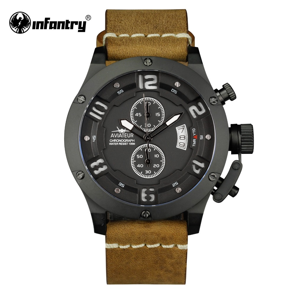 INFANTRY Military Watch Men Aviator Waterproof 100m Mens Watches Top Brand Luxury Chronograph Leather Watch Relogio MasculinoINFANTRY Military Watch Men Aviator Waterproof 100m Mens Watches Top Brand Luxury Chronograph Leather Watch Relogio Masculino
