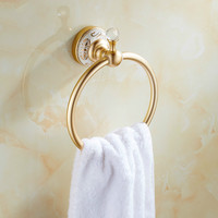 European Gold Space Aluminum Crystal Towel Rings Ceramic Base Towel Holder Unique Bathroom Accessories Products