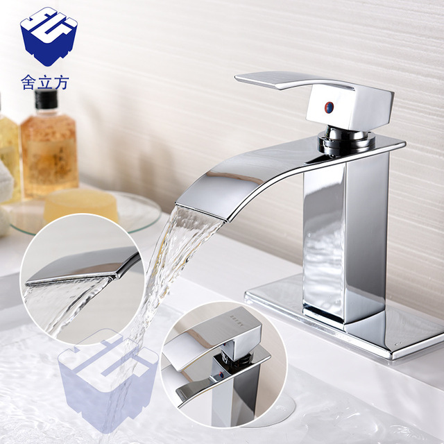 wonderful Stainless Steel Waterfall Faucet Part - 4: Stainless Steel Waterfall Kitchen Faucets Polished Silver Bathroom Faucet  Square Single Handle Single Hole Sink Taps