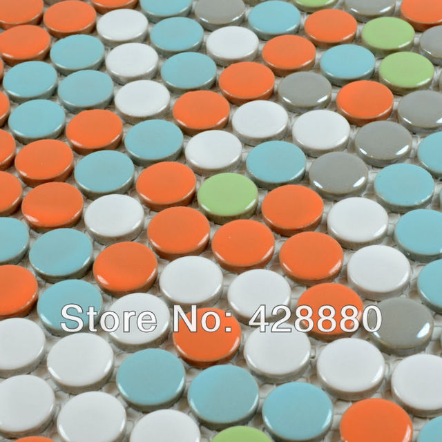 Porcelain mosaic tiles penny round glazed pebble tile colors ceramic     Porcelain mosaic tiles penny round glazed pebble tile colors ceramic wall  stickers PM105 glossy surface swimming