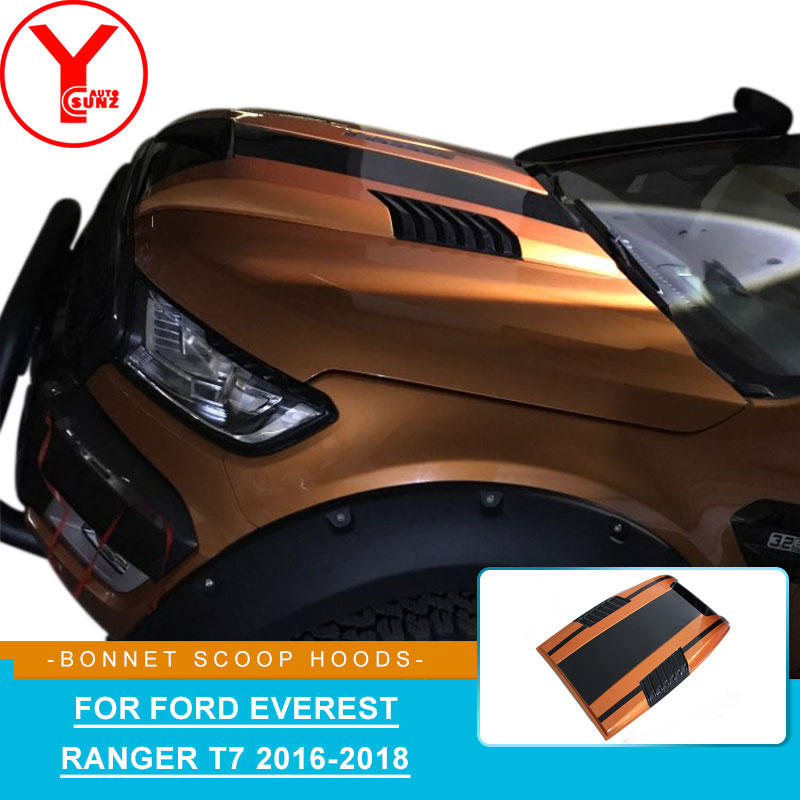 YCSUNZ orange black Bonnet Scoops Hood Cover hood scoop car parts accessories For Ford Everest Ranger T7 wildtrak 2016 2017 2018YCSUNZ orange black Bonnet Scoops Hood Cover hood scoop car parts accessories For Ford Everest Ranger T7 wildtrak 2016 2017 2018