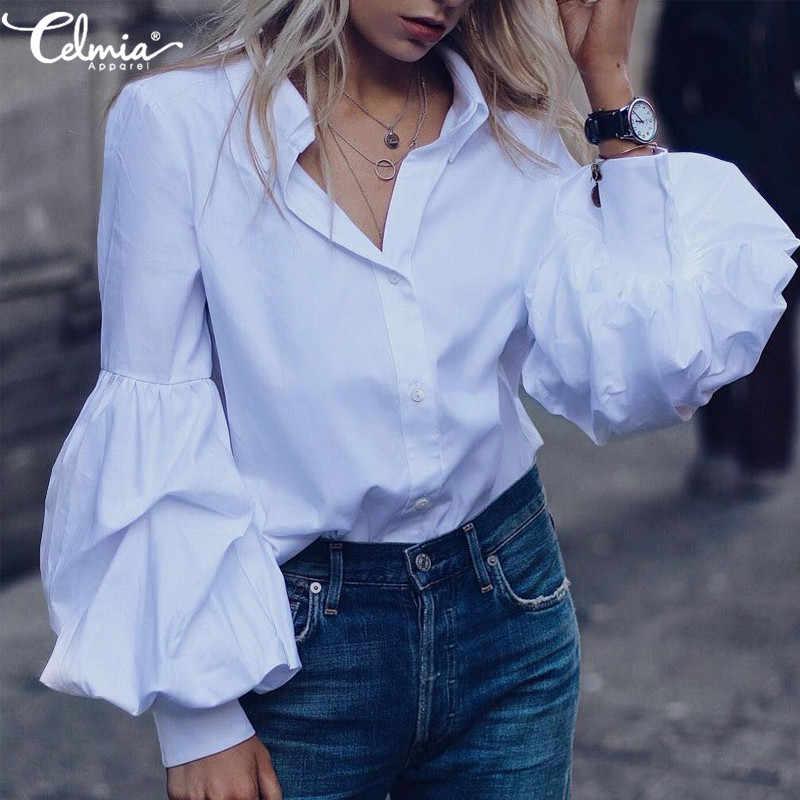 Винтажная Повседневная однотонная блуза и топы с длинными пышными рукавами, осень 2019, свободная плиссированная туника с пуговицами, рубашки размера плюс, Blusas 5XL