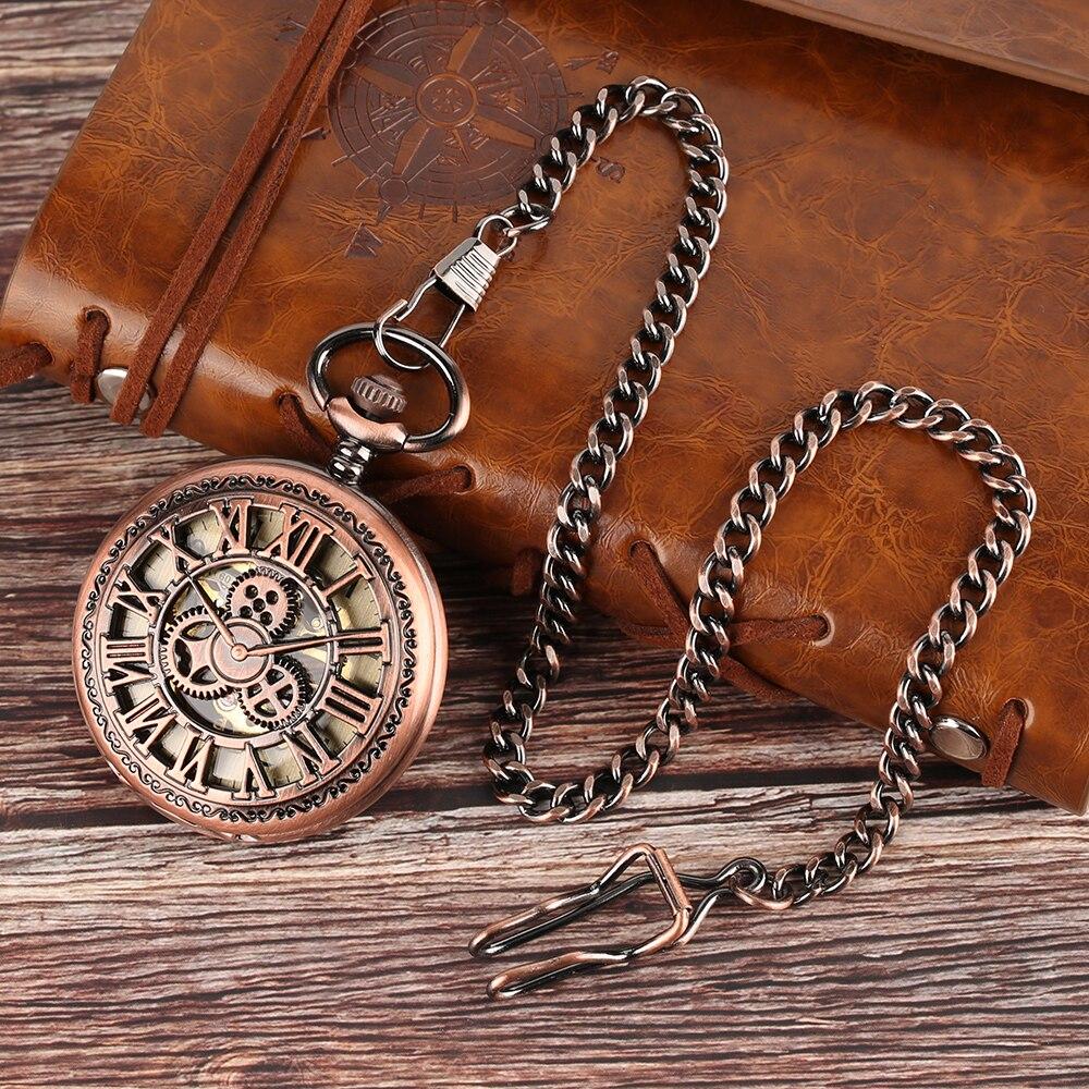 Rose Gold Gear Wheel Mechanical Pocket Watch Unisex Retro Hand Winding Pocket Clock Fob Chain Vintage Pendant Mini Gift Watch