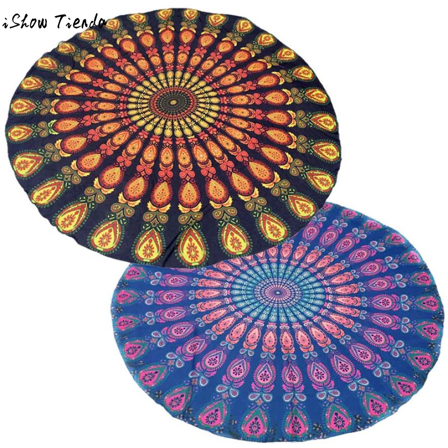 Drop Shipping Durable 2017 Round Tapestry Bright Colors Beach Throw Roundie Mandala Towel Tunics Women Drap De Plage