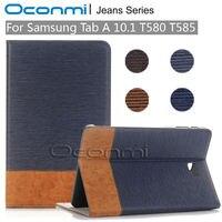 Jeans di alta qualità cassa di cuoio Del Raccoglitore per Samsung Galaxy Tab 10.1 2016 nuova copertura per SM-T580 SM-T585 maniche tablet