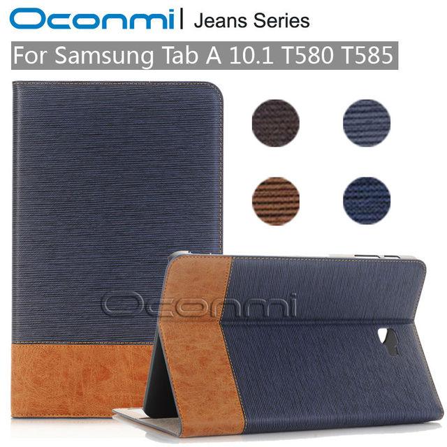 Calças de brim de alta qualidade caso carteira de couro para samsung galaxy tab 10.1 2016 nova capa para sm-t580 sm-t585 mangas tablet