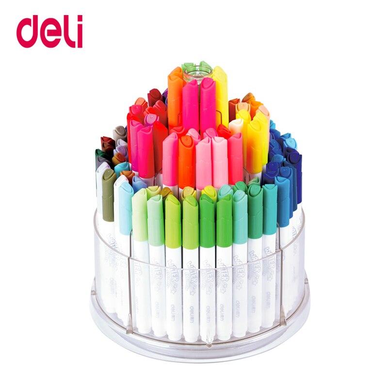 Deli aquarelle stylos 100 couleurs/boîte art papeterie fournitures eau couleur marqueurs facile lavé dessin peinture marqueur stylo