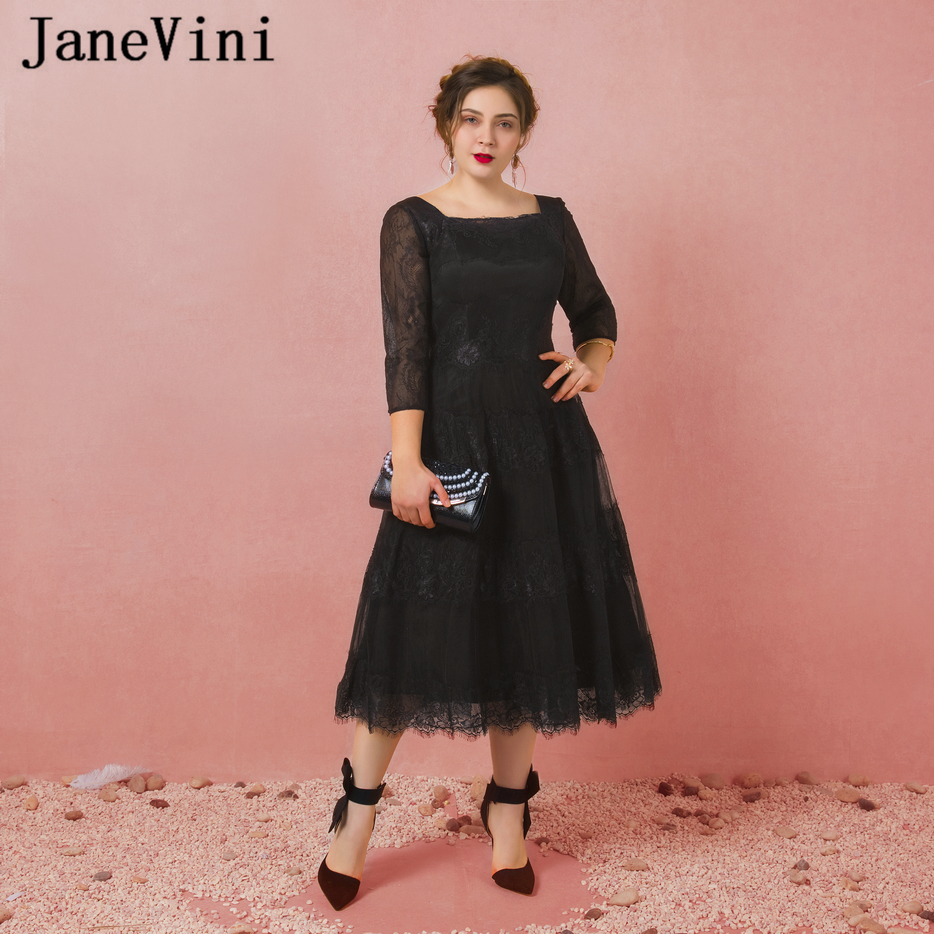 JaneVini Vestidos Plus Size Mother Of The Bride Dresses A Line Black Lace Tea-Length Vintage Long Evening Gowns For Wedding 2018