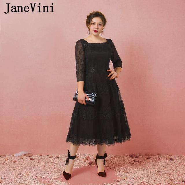 Janevini Vestidos Plus Size Mother Of The Bride Dresses A Line Black Lace Tea Length