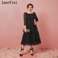 JaneVini Vestidos Plus Size Mother Of The Bride Dresses A Line Black Lace Tea Length Vintage Long Evening Gowns For Wedding 2018
