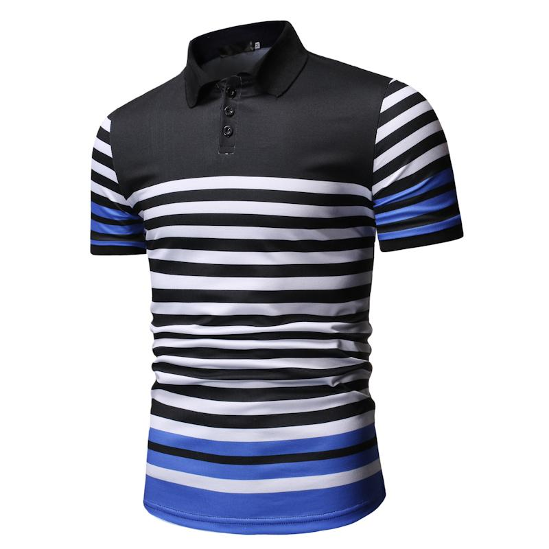 Men   Polo   Shirt Stripe Business Casual Men   Polo   Shirt Summer Tops Short sleeve Men's Clothing Tees White Black New