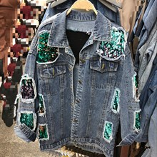 Harajuku Women Casual Denim Sequins Jeans Jackets Vintage Long Sleeve Holes Jacket Loose Patchwork Sequined