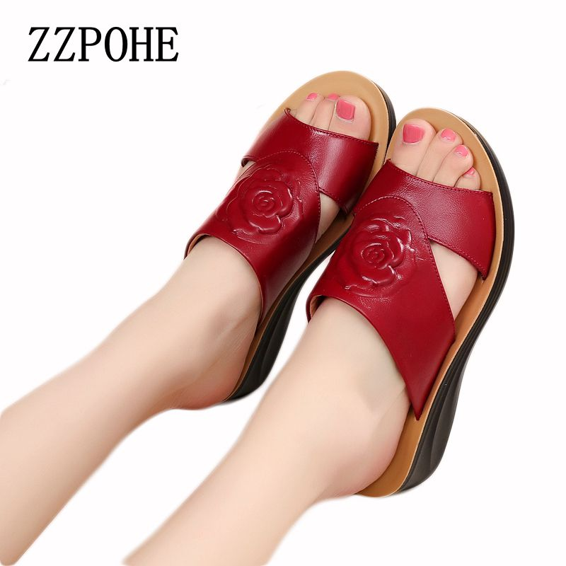 ZZPOHE 2017 Summer Leather Mother Slippers Ladies Elderly Soft Bottom Shoes Woman Flat Slope Female Large Size Slippers Size 41