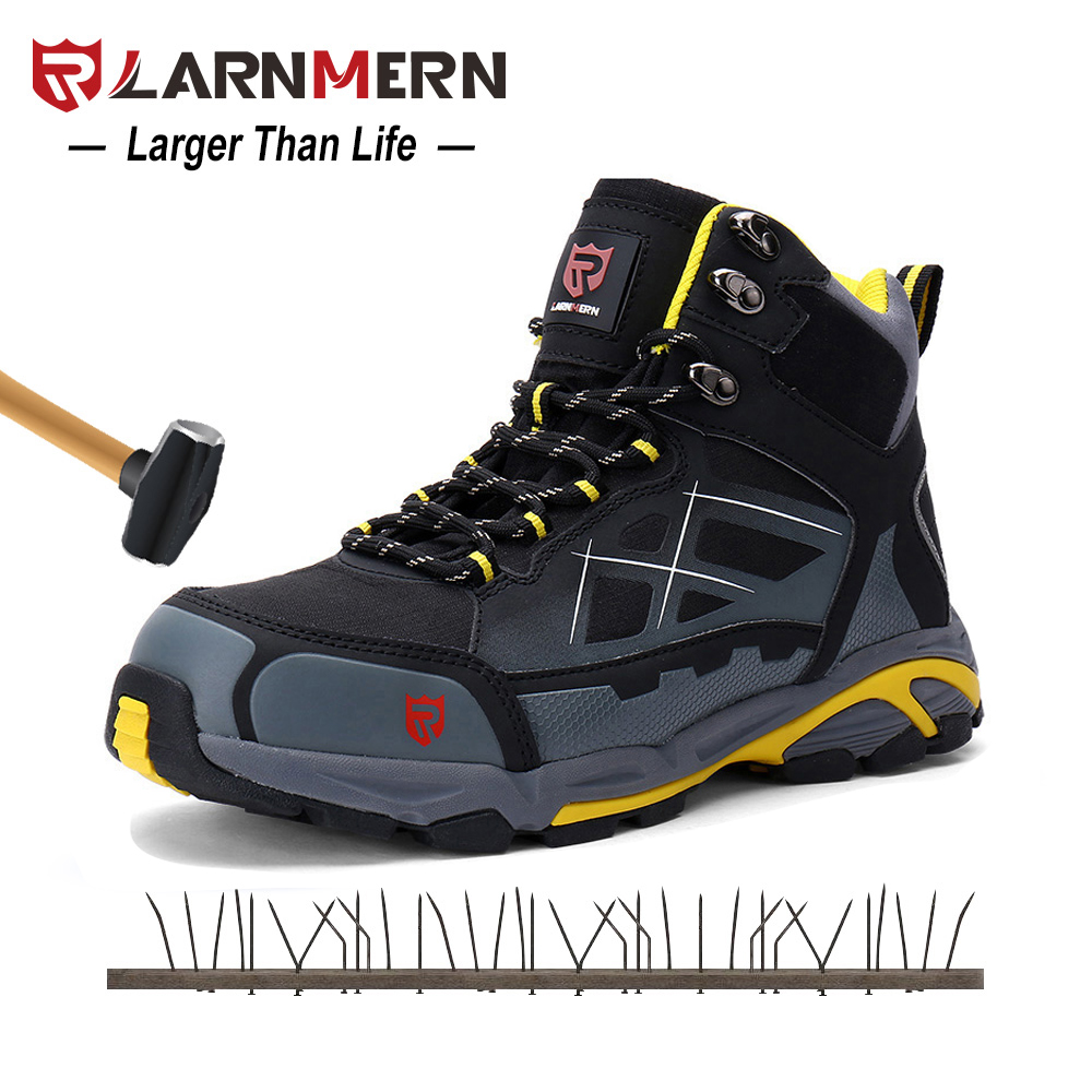 Larnmern Mens Work Boots Metal Toe Security Footwear S1P Out of doors Security Sneakers Src Non-Slip Anti-Static Puncture Proof