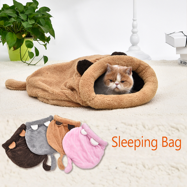 a6952c5af716 US $12.77 29% OFF|Cute Cat Sleeping Bag Warm Dog Cat Bed Pet Dog House  Lovely Soft Pet Cat Mat Cushion High Quality Products Lovely Design  4Colors-in ...