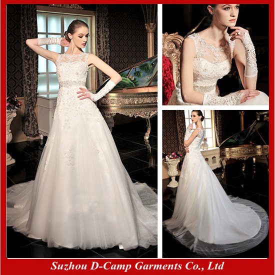 Free Shipping WD 1915 Elegant illusion high illusion neck ball gown ...
