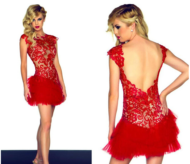 Fancy Asian Red Lace Tail Party Dresses Cap Sleeve Backless Tulle Night Club Mini Y Homecoming