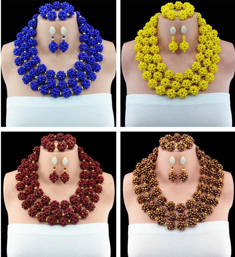 2016 Chunky African Beads Jewelry Sets Spike Gold Nigerian Wedding Crystal Beaded Jewelry Set Free Shipping цена и фото